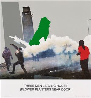 the news: three men leaving house by john baldessari