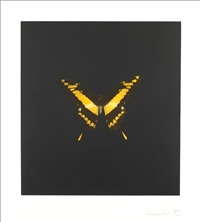 the souls on jacob's ladder take their flight (black/yellow) by damien hirst