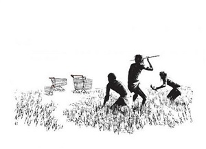 trolleys black and white by banksy