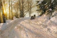 sonniger winternachmittag. unterwegs mit dem pferdeschlitten by peder mork monsted
