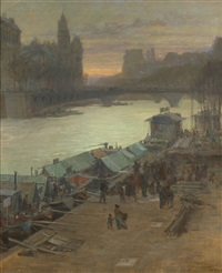 dawn on the seine by frederick j. mulhaupt