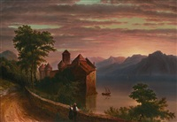 twilight, château de chillon by louis rémy mignot