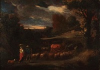 landscape with shepherds and cattle, 17th c. by french school