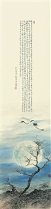a crane under the moonlight by yao yuan