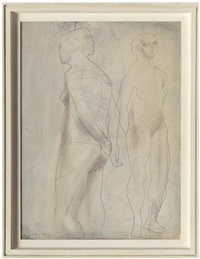 two figures (blue grey) by barbara hepworth