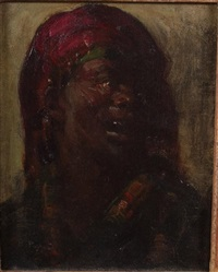 bust of a moor in red headress by hovsep pushman