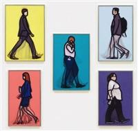 walking figures, nurse, lawyer, banker, student, detective by julian opie
