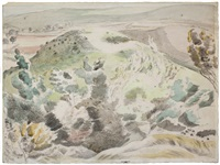windy hill by paul nash