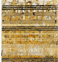 katagami series: gold cornflower over stripes by katina huston