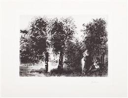 b1827 sérénade au coucher du soleil dans un sous-bois à la monet by pablo picasso