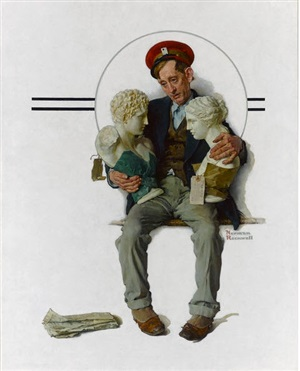 delivering two busts, saturday evening post cover by norman rockwell