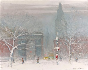winter in washington square, new york by johann berthelsen
