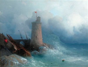 on the rocky shore by ivan konstantinovich aivazovsky
