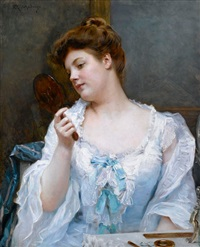 a young beauty at her vanity by raimundo de madrazo y garreta