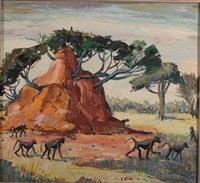 baboons and termitary by zakkie (zacharias) eloff
