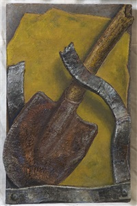 shovel on yellow by andrey grositsky