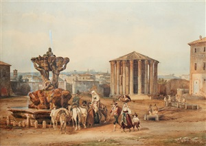 the forum boarium and the temple of vesta, rome by franz knebel