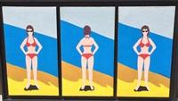 red bikini triptych by marjorie virginia strider