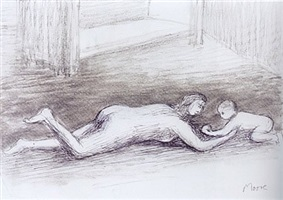 mother playing with child on floor i by henry moore