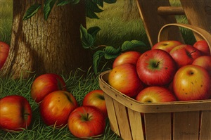 still life with apples, ladder and tree by levi wells prentice