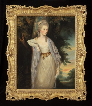 portrait of a lady standing in a landscape<br>portrait of a lady seated in a landscape by thomas hickey