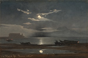 the bay of naples by moonlight, with a view of the castel dell'ovo by johann jakob frey