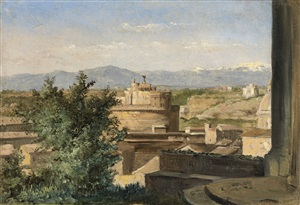 view of rome from the janiculum hill, with castel sant'angelo and the church of san giovanni dei fiorentini by raymond auguste quinsac monvoisin