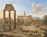 the roman forum and the distant palazzo senatorio by gaspare gabrielli
