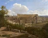the arch of constantine and the colosseum, seen from the palatine hill by gaspare gabrielli
