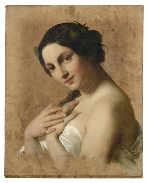 zwei frauenportraits, als allegorien von herbst und winter /<br>a portrait of a young woman as autumn and winter by charles (karoly) brocky