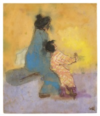 frau mit kleinem mädchen, japan /<br> japanese woman with a young girl by emil nolde