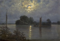full moon near pillnitz by carl gustav carus