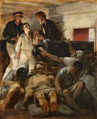 studie für das gemälde 'die cholera an bord der fregatte melpoméne' /<br>study for 'cholera aboard the melpomène' by emile jean horace vernet
