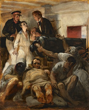 study for 'cholera aboard the melpomène' by emile jean horace vernet
