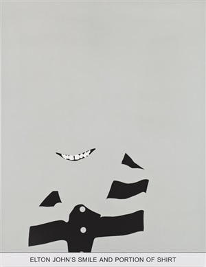 sediment: elton john's smile and portion of shirt by john baldessari