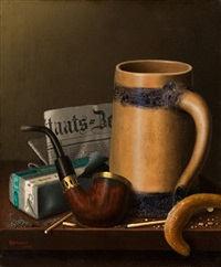staats-zeitung and pretzel by william michael harnett