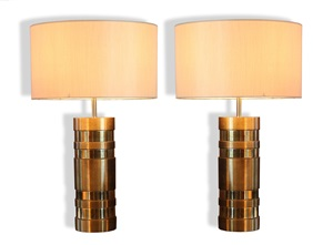 extremely rare pair of cylindrical bronze lamps by bagues by maison baguès