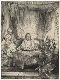 christ at emmaus: the larger plate by rembrandt van rijn