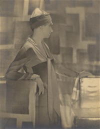 woman modeling with abstract backdrop by edward steichen