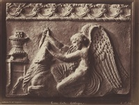 antique terracotta relief of an angel slaying a bull by henri le secq