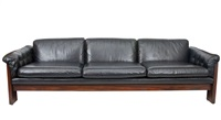 rosewood and leather sofa by milo baughman by milo baughman