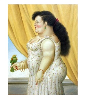 woman with the bird by fernando botero