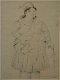 donna con borsa e ombrello by fernando botero