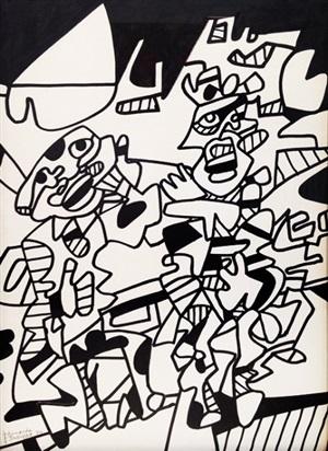 scène tragique (site avec deux personnages) by jean dubuffet