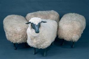 mouton de laine, troupeau avec trois ottomans by françois-xavier lalanne