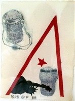 untitled (bob's birthday with statue of liberty & corks) by robert rauschenberg