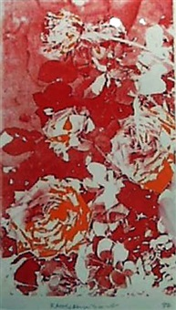 untitled (red and orange roses) by robert rauschenberg
