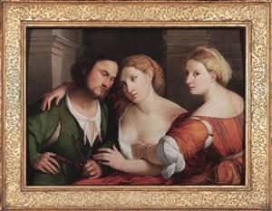 a shepherd and two women by jacopo palma il vecchio
