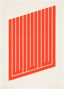 ohne titel aus set of 26 woodcuts in cadmium red by donald judd