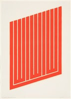 ohne titel aus: set of 26 woodcuts in cadmium red by donald judd